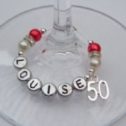 50th Birthday Personalised Wine Glass Charm - Elegance Style